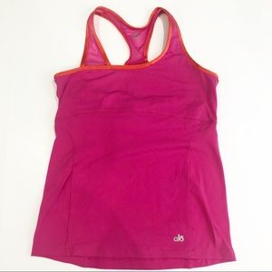 Alo Yoga Tank Hot Pink and Orange trim Size M